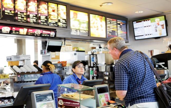 Man ordering fast food