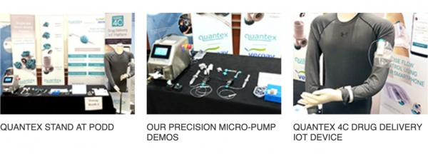Quantex Arc Micro pump demos 4c drug delivery stand at PODD