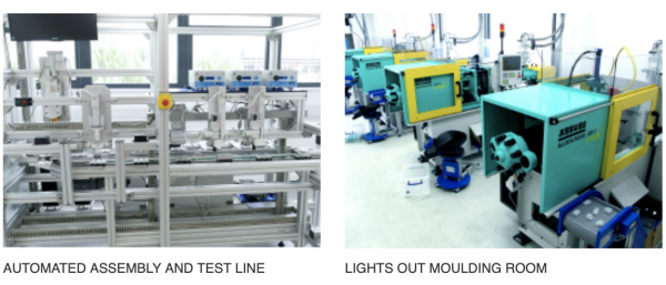 Quantex Arc Automated assembly and test line, Lights out moulding room
